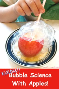 Edible Bubble Science With Apples!  Perfect for toddlers, preschoolers, and older children!