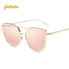 2017 future fashion Women Colour Luxury Flat Top Cat Eye Sunglasses