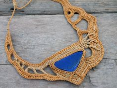 This Freeform one of a kind necklace was handmade crochet by me with shades of yellow threads and Lapis gemstone <3 by AmorArt <3 <3 <3