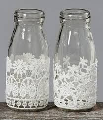 Decorative Bottles : Decorative Milk Bottles with Lace, con botes Juanito Fernandez DIY & Crafts Wine Bottle Crafts, Mason Jar Crafts, Bottle Art, Shabby Chic Accessories, Diy And Crafts, Arts And Crafts, Bottles And Jars, Milk Bottles, Glass Bottles