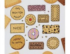 Biscuits Cross Stitch Kit - 14 Count British Biscuit Sampler with DMC Threads £14.99