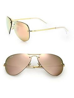 Ray-Ban Pilot Metal Aviator Mirrored Sunglasses
