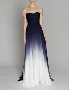 Dress: blue white dip blend maxi maxi , long, blue, white elegant long navy silk chiffon gown dye