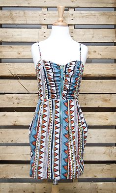 Aztec print ruched dress with adjustable spaghetti straps  Zip back // $41.99 // shopboldthreads.com