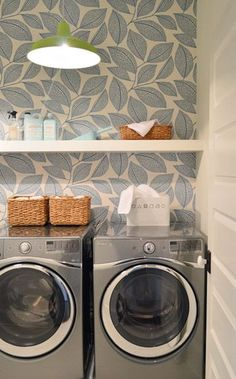 Laundry Room Love - wallpaper & floating shelf The Show Must Go On | Young House Love