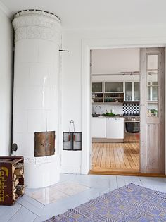 See more of our inspiration onEscuyer Swedish fireplace and a simple rag rug. Vintage Swedish Rag Rug at Scandia Decor