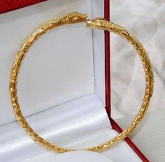 ANCIEN RARE BRACELET JONC ESCLAVE / SERPENT 2 TETES OR MASSIF 18K CARATS 38,28 g   REF / A 774