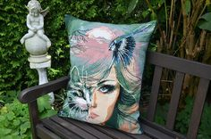 Large handmade pillow / cushion with a vintage embroidery
