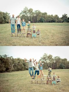 Adoption photos: maybe first photo with an extra empty chair and the second one with the whole family :)