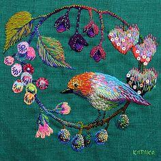 diy inspiration // embroidery // bird and fruits by kimikahara, via Flickr