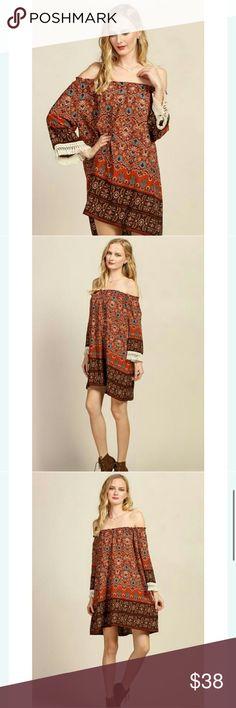 Off the shoulder dress Floral border print off the shoulder dress 98% polyster 2% spandex Dresses Strapless