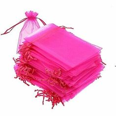 Wedding Gift Bags, Wedding Party Favors, Pink Jewelry, Dainty Jewelry, Jewelry Case, Christmas Party Favors, Pink Parties, Party Favor Bags, Organza Gift Bags