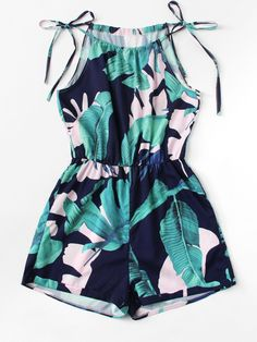 Tropic Print Knot Halter Romper Summer Ladies Spaghetti Strap Sleeveless Mid Wai… - Jumpsuits and Romper Cute Comfy Outfits, Cute Girl Outfits, Cute Summer Outfits, Pretty Outfits, Stylish Outfits, Girls Fashion Clothes, Teen Fashion Outfits, Mode Outfits, Girl Fashion