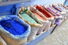 Colorful pigments in the blue cit of Chefchaouen
