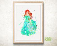 Disney Ariel Little Mermaid Watercolor Art Print by MarcoFriend