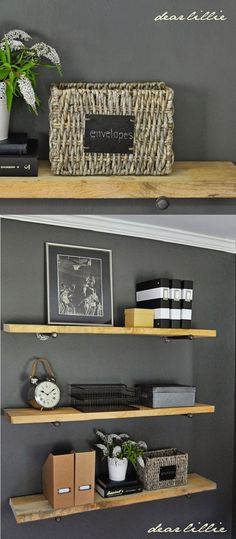 Add shelves instead of just art to a blank wall. It helps add storage to a small space and can help you stay organized. Little metal boxes and fun baskets like these ones from @homegoods will really help you keep everything in its place. #HomeGoodsHappy #organize