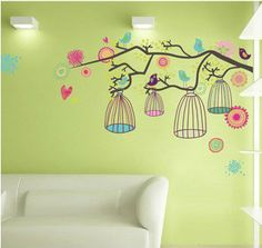 birdcage wall decals | ... Tree Flowers Bird Cage | Re-positionabl e Girls Bedroom Wall Stickers