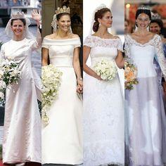 Sweden's royal brides (L-R): Queen Silvia, Princess Victoria, Princess Medeleine, Princess Sofia Royal Wedding Gowns, Royal Weddings, Wedding Bride, Wedding Dresses, Celebrity Wedding Photos, Celebrity Weddings, Princesa Real, Estilo Real, Crown Princess Victoria