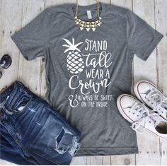 Stand Tall Pineapple Tee - Vinyl Pineapple Tee Shirt - Flowy Tank Top- Slouchy Tee - Custom Beach Tank top - (VT1034) by TheCustomStudioShop on Etsy https://www.etsy.com/listing/453323840/stand-tall-pineapple-tee-vinyl-pineapple