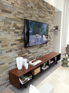 Stone Tv Wall Unit Best House Design - Home decor Tv Wall Decor, Wall Tv, Wall Decorations, Tv Wall Design, Living Room Tv, Stone Wall Living Room, Cool House Designs, Living Room Designs, Sweet Home