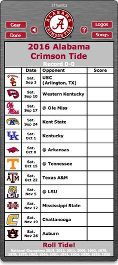 BACK OF MAC APP - 2016 Alabama Crimson Tide Football Schedule App - Roll Tide…