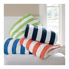 St. Tropez Cabana Stripe Down Free Comforter - The Company Store