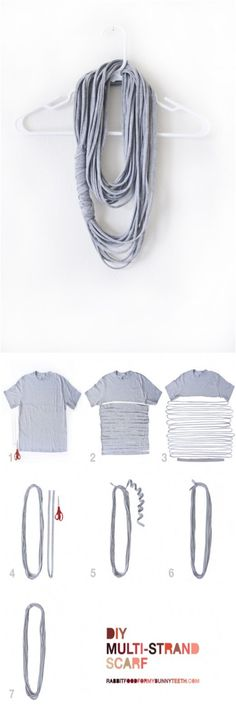 DIY Multi-Strand Scarf--Perfect project for the girl to tackle. Something she might like to wear to a party. More