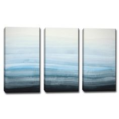 """AllModern - 'Coastal Mist' by Norman Wyatt Jr. 3 Piece Painting Print on Wrapped Canvas Set - 24""""H x 36""""W (for large blank wall)"""