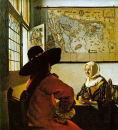 Johannes VERMEER - Officer and laughing girl - ca 1655 - 1660 - New York