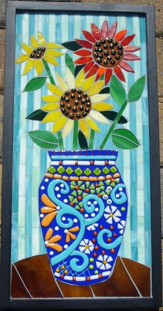 """12:x24"""" Wood substrate with mosaic of glass fusions and stained glass."""