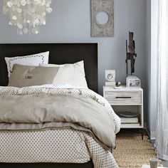 Master bedroom inspiration - love the blue wall color, bedding and nightstand
