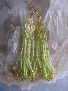 Seed Bead Beadwoven Earrings - Chandelier/Chartreuse