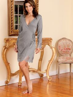 Cherissa - Luxury Nightgowns - When you think of shades of Gray, the most breath-taking of all is what you see here  #nightwear #gown #schweitzerlinen