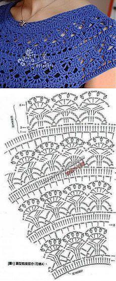 Fabulous Crochet a Little Black Crochet Dress Ideas. Georgeous Crochet a Little Black Crochet Dress Ideas. Crochet Lace Collar, Crochet Yoke, Crochet Diagram, Crochet Blouse, Crochet Chart, Crochet Baby, Crochet Poncho Patterns, Knitting Patterns, Crochet Projects