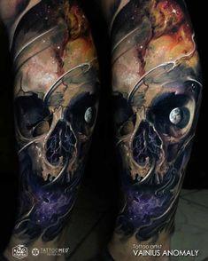 skull tattoo moon eye
