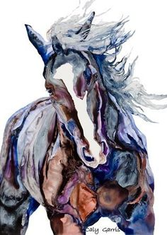 Great usage of colors to accentuate the horses musculature body.