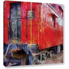 ArtWall Kevin Calkins Old Red Caboose Gallery-Wrapped Canvas, Size: 24 x 24, Blue