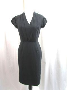 Banana Republic Black Wool Stretch V Neck Sheath Dress Size 0 Career Excellent #BananaRepublic #Sheath #WeartoWork