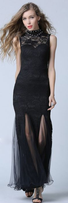 Black Stand Collar Sleeveless A Line Lace Maxi Dress
