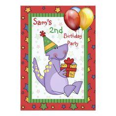 2nd Birthday Dinosaur Balloon Present Stars Bright