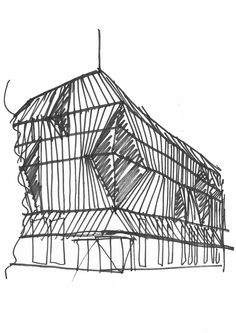 Controlled solid parallel lines from a black marker pen add perspective to the sketch, with the hatching of the area assisting in the investigation of spatial quality and form.