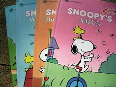 Vintage Snoopy and Friends Golden Books Snoopy's Word Book Snoopy's 1,2,3 Snoopy's ABC's Snoopy's Book of Shapes