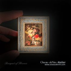 Miniature Painting Prints Picture Frame Still Life-Bouquet of Flowers Genre: still life Dimensions: Material:resin, plaster, paper, patina Painting Frames, Painting Prints, Antique Frames, Painting Still Life, Handmade Items, Handmade Gifts, Air Dry Clay, Summer Flowers, Print Pictures
