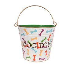 Made from recycled metal, this toy pail has a colorful palette and bone motif.   Product: Dog toy pailConstruction Materia...