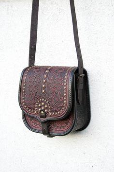11906be28b1 brown purple violet leather bag shoulder bag by petitJuJu Ethnic Bag,  Leather Tooling, Leather