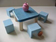 Nr399 Bodo Hennig 20x Hocker 5x Tisch 1:10 -- Puppenhaus Puppenstube Puppenmöbel