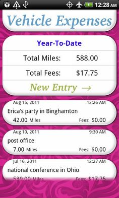 Great way to keep track of your mileage for your business!