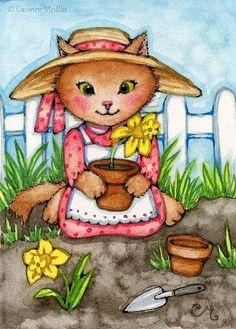 Planting Daffodils ACEO - Carmen Medlin