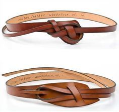 """Rilleau leather belts, handmade in Vermont. The knots are easy to learn (instructions come with it!) and the 10-12"""" """"tail"""" tucks under the belt on the side. Similar in design to old 1960's """"snake"""" belts. A great casual look!"""