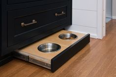 Built In Dog Dish; Indianapolis, IN Kitchen Remodel; Brushed Brass Hardware  By Cabinet Color   Black Of Night Photo By: